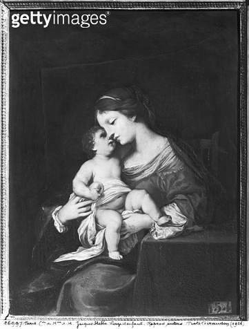 Virgin and Child (oil on canvas) (b/w photo) - gettyimageskorea