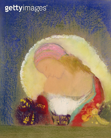 <b>Title</b> : Profile of a Girl with Flowers, c.1900 (pastel on paper)<br><b>Medium</b> : pastel on paper<br><b>Location</b> : On Loan to the Hamburg Kunsthalle, Hamburg, Germany<br> - gettyimageskorea