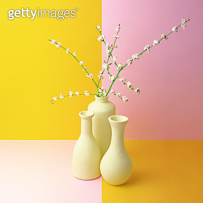 White vases with popcorn covered twigs representing cherry blossoms on color blocked background. *Concept: artificial - gettyimageskorea