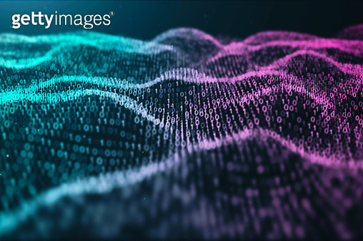 3D illustration Rendering of binary code pattern.Futuristic Particles digital Landscape wave Abstract background for business,Science and technology - gettyimageskorea