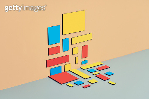 colored pattern laid out on both wall and table, mondrian inspired still life - gettyimageskorea