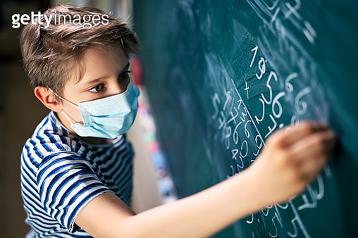 Cute little boy on math lesson during COVID-19 pandemic - gettyimageskorea