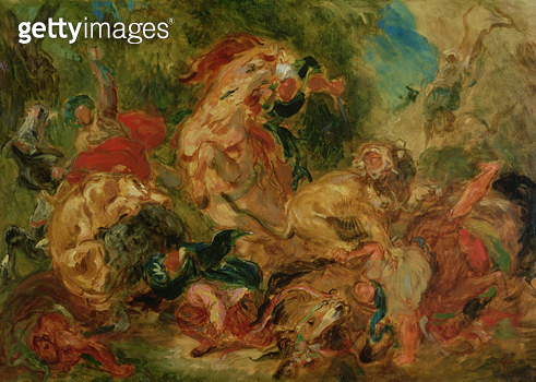 <b>Title</b> : Study for The Lion Hunt, 1854 (oil on canvas)<br><b>Medium</b> : oil on canvas<br><b>Location</b> : Musee d'Orsay, Paris, France<br> - gettyimageskorea