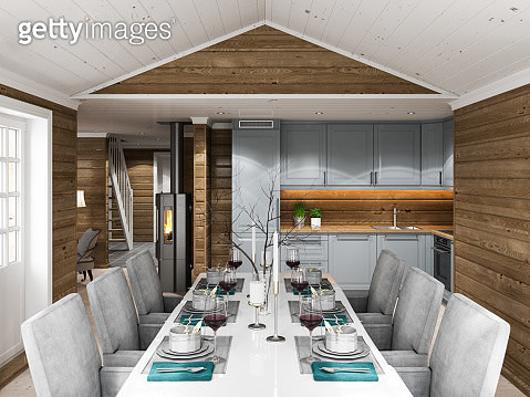 Cottage dining room and kitchen - gettyimageskorea