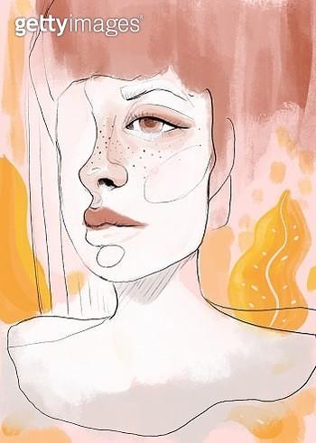 Beautiful woman digitally painted half face portrait. - gettyimageskorea