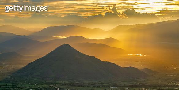 Mountain in morning golden light - gettyimageskorea