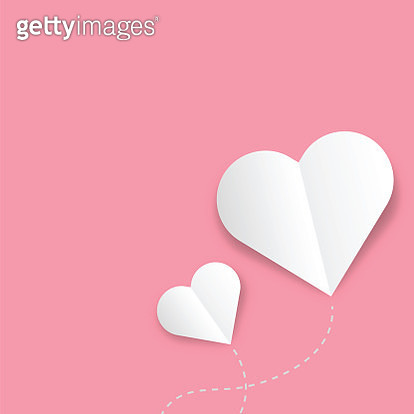 Paper elements in shape of heart flying on pink background. Vector symbols of love for Happy Women's, Mother's, Valentine's Day, birthday greeting card design - gettyimageskorea