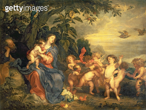 <b>Title</b> : The Rest on the Flight into Egypt (Virgin with Partridges) early 1630s (oil on canvas<br><b>Medium</b> : oil on canvas<br><b>Location</b> : Hermitage, St. Petersburg, Russia<br> - gettyimageskorea