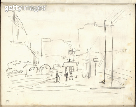 <b>Title</b> : Exterior of the gare Saint-Lazare (pencil on paper)<br><b>Medium</b> : pencil on paper<br><b>Location</b> : Musee Marmottan, Paris, France<br> - gettyimageskorea
