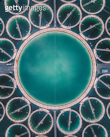 Close up aerial shot of a strange aquaculture structure in a lake, Germany - gettyimageskorea