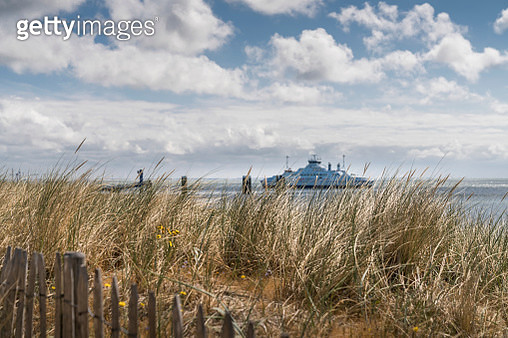 View of the sea and the ferry, List/Sylt - gettyimageskorea