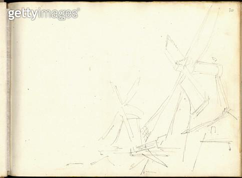 <b>Title</b> : Mills near Zaandam (pencil on paper)<br><b>Medium</b> : pencil on paper<br><b>Location</b> : Musee Marmottan, Paris, France<br> - gettyimageskorea