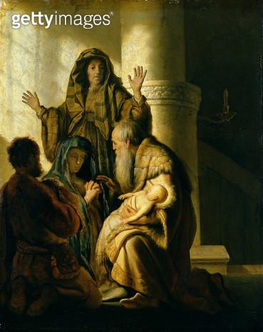 <b>Title</b> : Simeon and Hannah in the Temple, c.1627 (oil on panel)<br><b>Medium</b> : oil on panel<br><b>Location</b> : Hamburger Kunsthalle, Hamburg, Germany<br> - gettyimageskorea