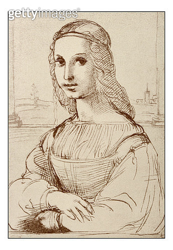 Leonardo's sketches and drawings: Mona Lisa (La Gioconda) by Raphael - gettyimageskorea