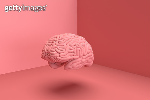 3D digital picture of human brain in solid color. - gettyimageskorea