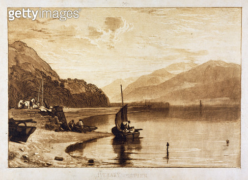 <b>Title</b> : Inverary Pier, 1859-61 (engraving)<br><b>Medium</b> : engraving<br><b>Location</b> : Yale Center for British Art, Paul Mellon Collection, USA<br> - gettyimageskorea