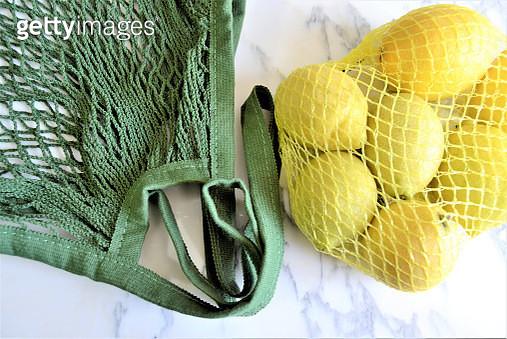 Lemons in Reusable shopping bag - gettyimageskorea