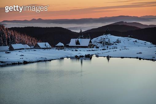 Dawn on a mountain lake - gettyimageskorea