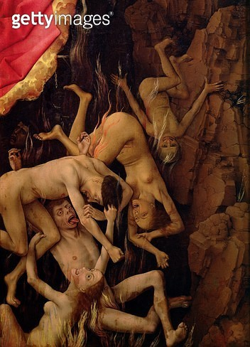 <b>Title</b> : The Last Judgement, detail of the fall of the damned to hell, c.1445-50 (oil on panel)<br><b>Medium</b> : oil on panel<br><b>Location</b> : Hotel Dieu, Beaune, France<br> - gettyimageskorea