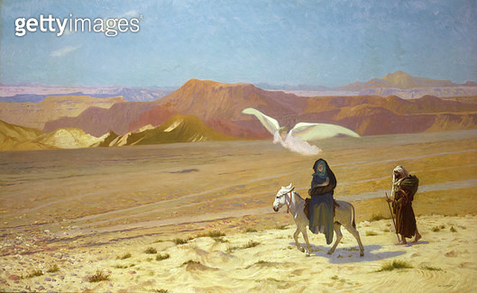 <b>Title</b> : The Flight into Egypt (oil on canvas)<br><b>Medium</b> : oil on canvas<br><b>Location</b> : Private Collection<br> - gettyimageskorea