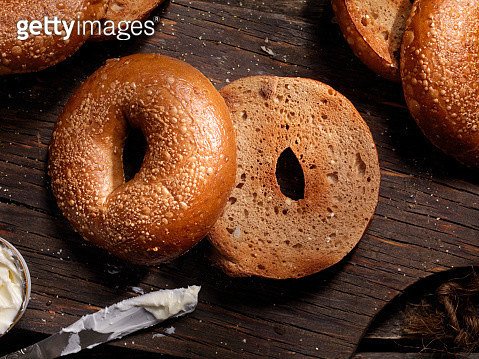Toasted Bagels with Butter - gettyimageskorea
