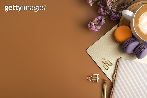 High Angle View Of Food And Drink With Flowers And Paper Clips On Brown Background - gettyimageskorea