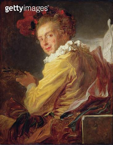<b>Title</b> : Music, a portrait of Monsieur de la Breteche, brother of the Abbot of Saint-Non, 1769 (oil on canvas)<br><b>Medium</b> : oil on canvas<br><b>Location</b> : Louvre, Paris, France<br> - gettyimageskorea