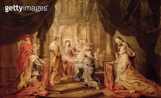 Mary Giving Ildefonso/ Archbishop of Toledo the Vestment/ with the Arch Duke Albrecht VII and his Patron Saint Albert of Lowen on the Left and the Infanta Isabella Claira Eugenia and her Patron Saint Elizabeth of Hungary on the Left (sketch for the altarp - gettyimageskorea