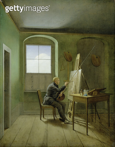 <b>Title</b> : Caspar David Friedrich (1774-1840) in his studio, 1811 (oil on canvas)<br><b>Medium</b> : oil on canvas<br><b>Location</b> : Hamburger Kunsthalle, Hamburg, Germany<br> - gettyimageskorea