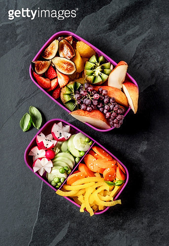 Lunch boxes with vegetables and fruits - gettyimageskorea
