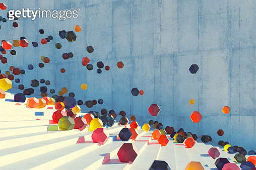 Large group of glowing elements falling down the urban concrete stairs - gettyimageskorea