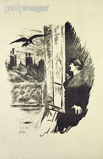 <b>Title</b> : Illustration for 'The Raven', by Edgar Allen Poe, 1875 (litho)<br><b>Medium</b> : lithograph<br><b>Location</b> : On Loan to the Hamburg Kunsthalle, Hamburg, Germany<br> - gettyimageskorea