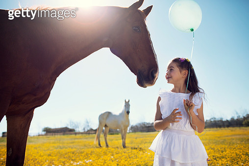 Pretty 7-8 year old girl holding a green ballon looking at a horse in a meadow of yellow flowers and another horse in the background - gettyimageskorea