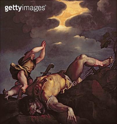 <b>Title</b> : David and Goliath (oil on canvas)<br><b>Medium</b> : oil on canvas<br><b>Location</b> : Santa Maria della Salute, Venice, Italy<br> - gettyimageskorea
