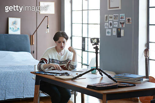 Cool woman working from home - gettyimageskorea