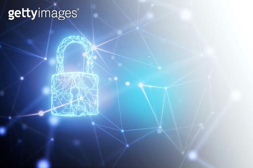Security system of circuit padlock hologram in network space. - gettyimageskorea