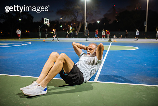 Portrait of senior Latino man exercising in the evening - gettyimageskorea