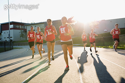 High school track and field athletes running track - gettyimageskorea