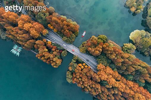 Aerial View Of Hanghzou Yanggong Levve At Dusk - gettyimageskorea