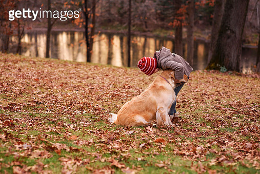 Girl standing in the woods playing with her dog, United States - gettyimageskorea