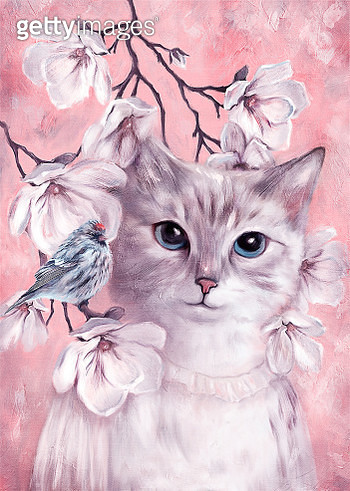 White Cat Woman Portrait  with small bird on Magnolia flowers colored on Pink and Violet. Painting illustration done by me - gettyimageskorea