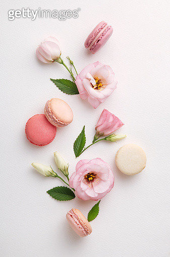 Directly Above Shot Of Colorful Macaroons With Flowers On White Background - gettyimageskorea