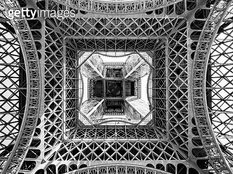 Abstract monochrome view of the Eiffel Tower - gettyimageskorea