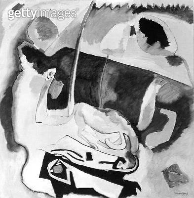 Improvisation 21 (with Yellow Horse)/ 1911 (oil on canvas) (b/w photo) - gettyimageskorea