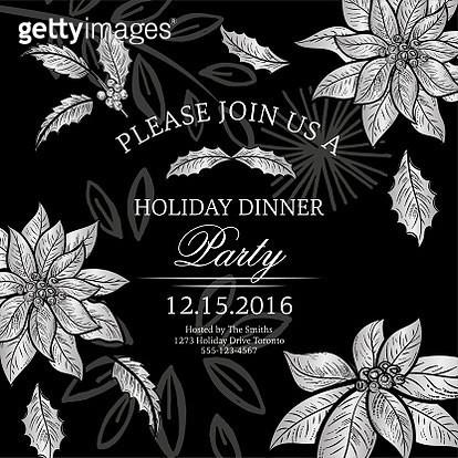 Botanical Christmas Poinsettia Party Invitation - gettyimageskorea