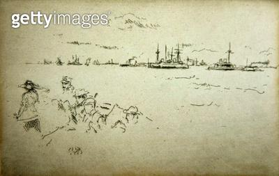 <b>Title</b> : Monitors, from a set of twelve etchings entitled 'The Naval Review', 1887 (etching)<br><b>Medium</b> : etching<br><b>Location</b> : Yale Center for British Art, Gift of Robert N. Whittemore<br> - gettyimageskorea