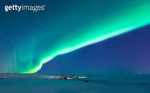 aurora borealis strong light shining bright in Iceland - gettyimageskorea