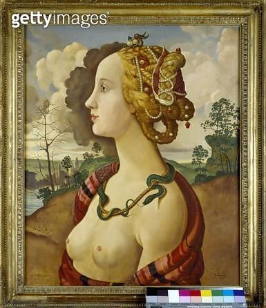 <b>Title</b> : Copy of Simonetta Vespucci (1453-76) by Sandro Botticelli (1444/5-1510) (oil on canvas)Additional Infopopular model of Botticell<br><b>Medium</b> : oil on canvas<br><b>Location</b> : Ashmolean Museum, University of Oxford, UK<br> - gettyimageskorea
