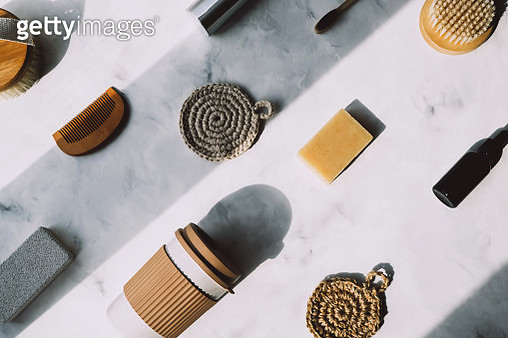 Bottle, wooden comb, natural soap and washcloths, metal jar and other eco-friendly things - gettyimageskorea