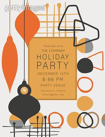 Retro Mid Century Modern Style Holiday Party Invitation - gettyimageskorea